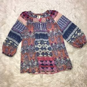 Anthro Fig and Flower Blouse Top plus sz 1X boho